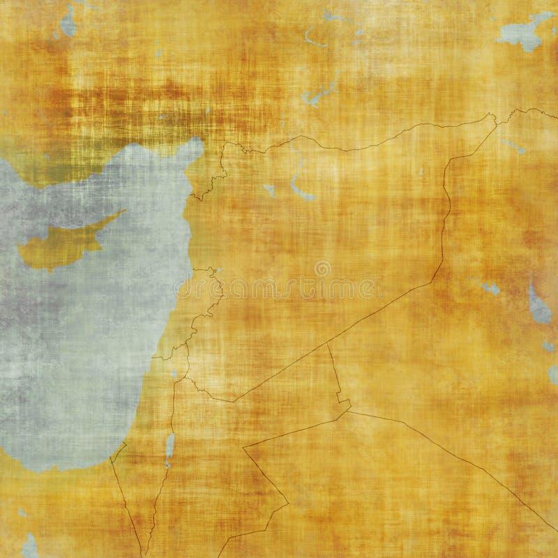 Mapa de Síria e beiras, mapa físico Médio Oriente, península árabe, mapa com relevos e montanhas e mar Mediterrâneo ilustração do vetor