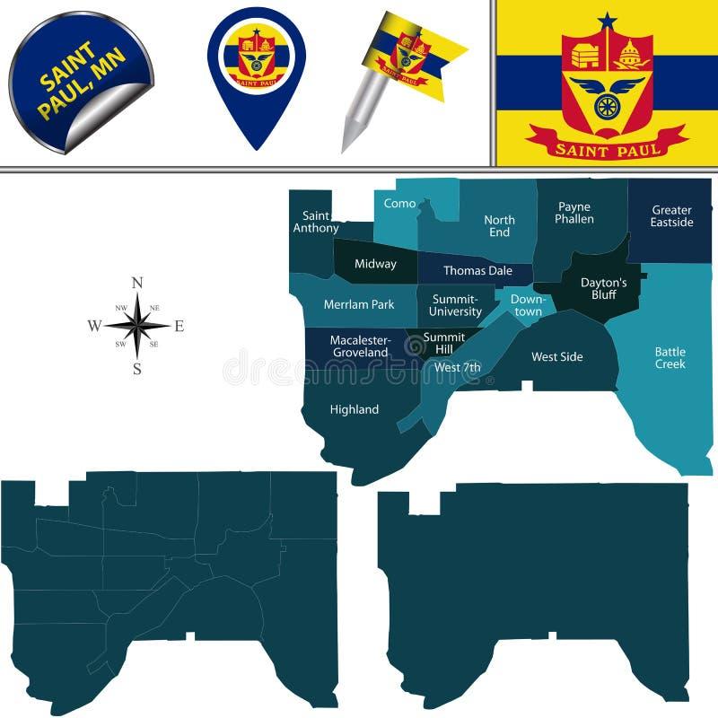 Mapa de Saint Paul, manganeso con los distritos libre illustration