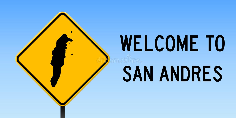 Mapa de San Andres en señal de tráfico libre illustration