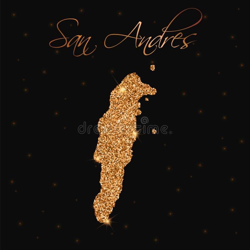 Mapa de San Andres llenado de brillo de oro ilustración del vector