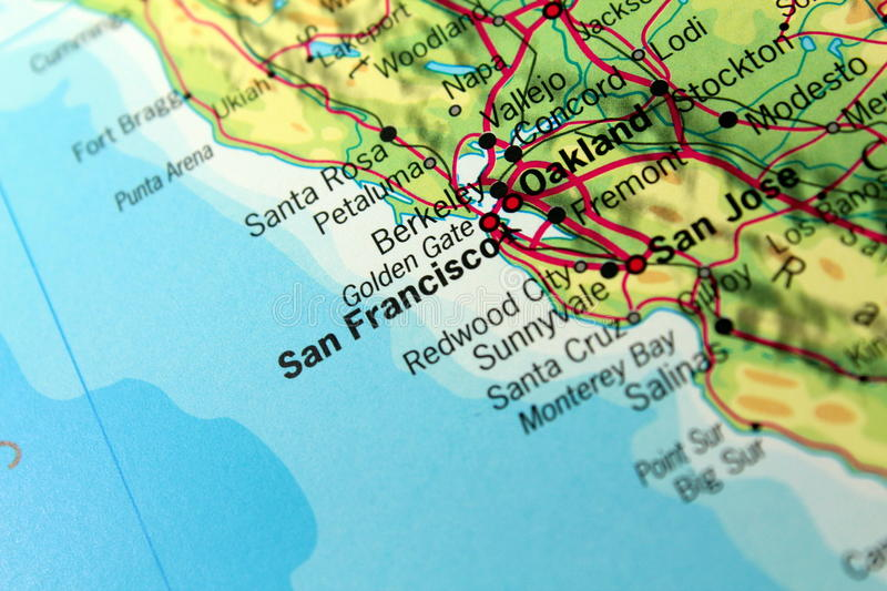 Mapa de San Francisco fotos de stock royalty free