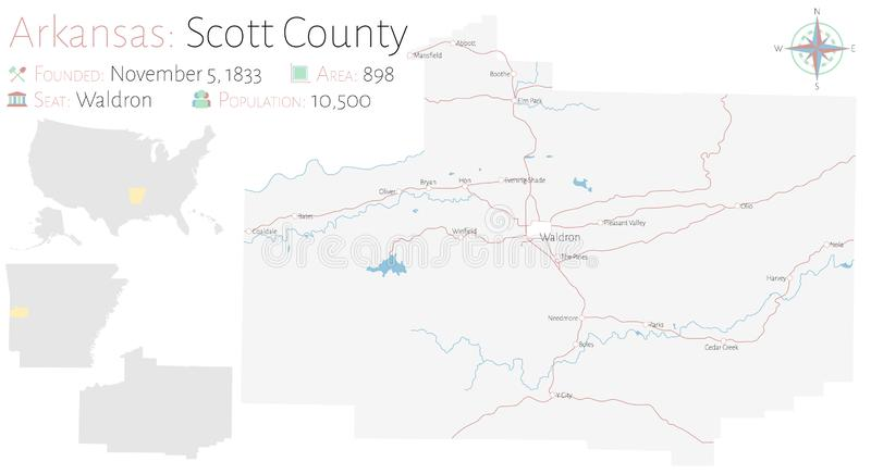 Mapa de Scott County en Arkansas libre illustration