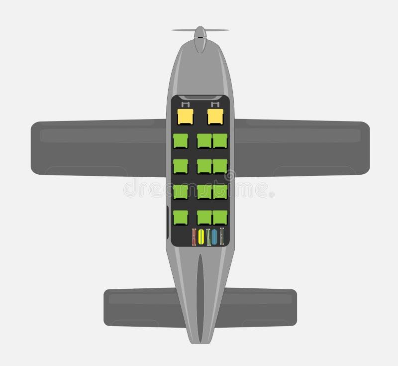 Mapa de Seat de aviões pequenos da hélice do passageiro ilustração royalty free