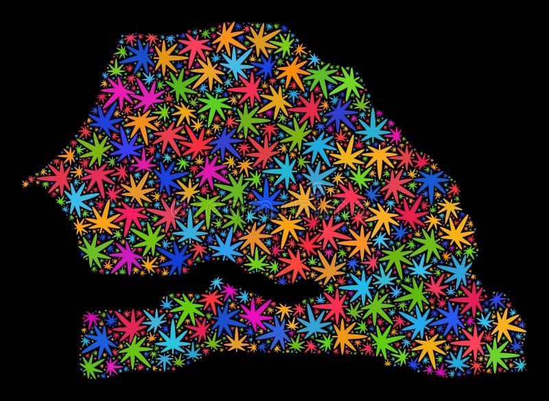 Mapa de Senegal del mosaico de las hojas coloreadas de la marijuana libre illustration