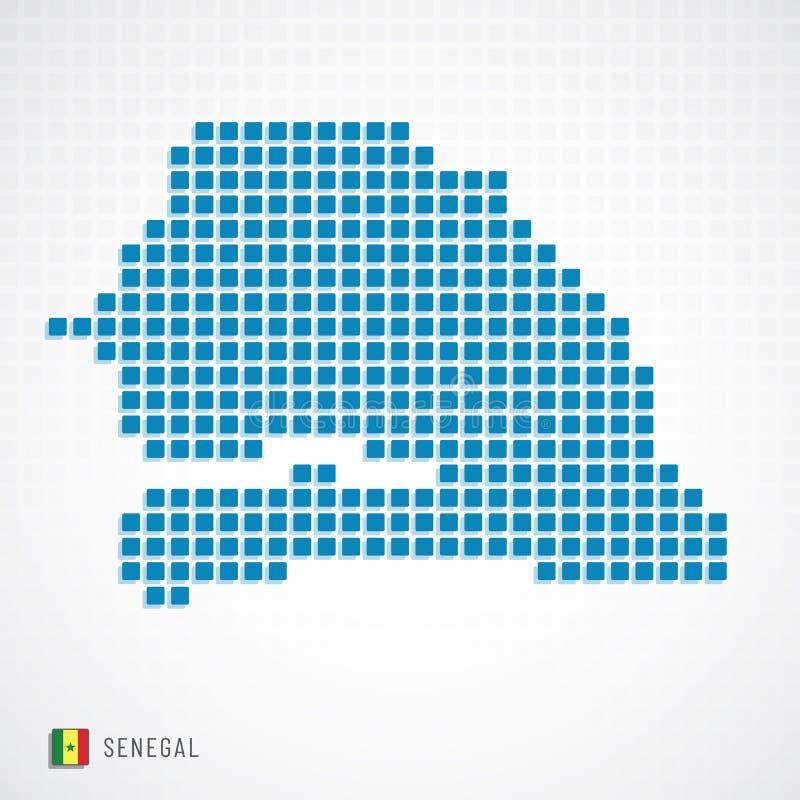 Mapa de Senegal e icono de la bandera ilustración del vector