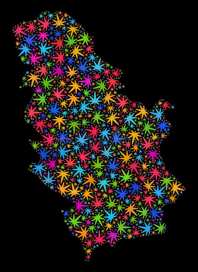 Mapa de Serbia del mosaico de las hojas coloreadas de la marijuana libre illustration