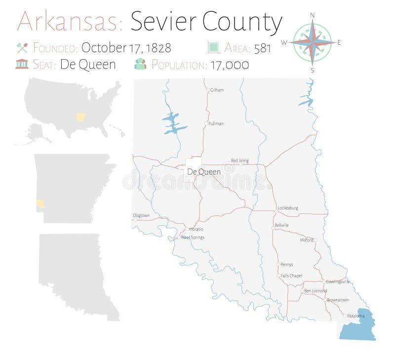 Mapa de Sevier County en Arkansas libre illustration