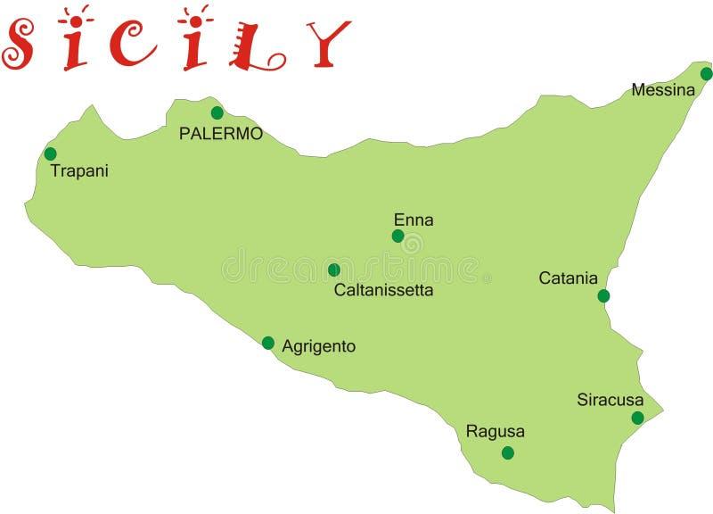 Mapa de Sicília ilustração stock