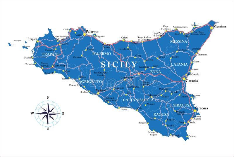 Mapa de Sicília ilustração do vetor