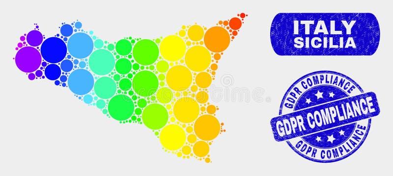 Mapa de Sicilia do mosaico e selo coloridos do selo da conformidade de Gdpr do Grunge ilustração do vetor
