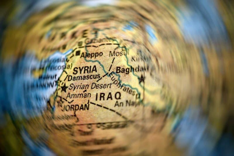 Mapa de Siria y de Iraq imagenes de archivo