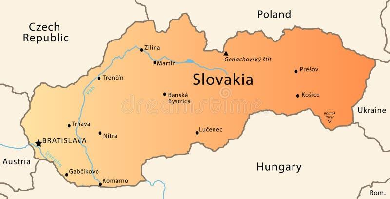 Mapa de Slovakia ilustração stock