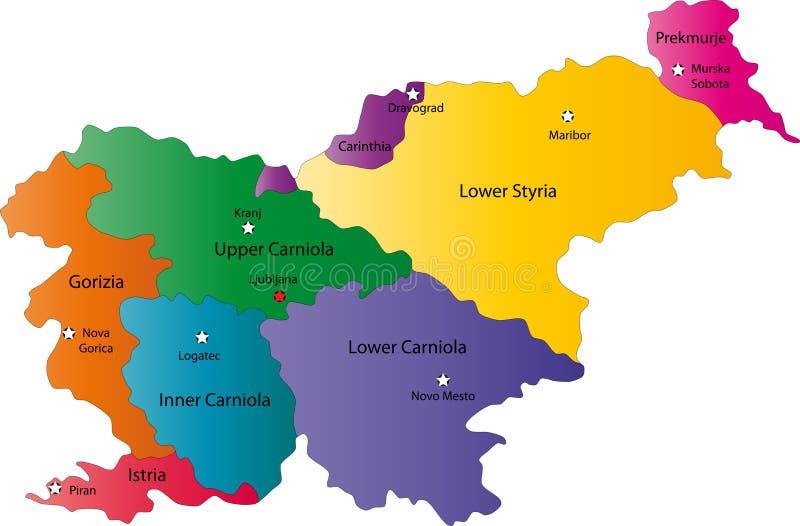 Mapa de Slovenia ilustração royalty free