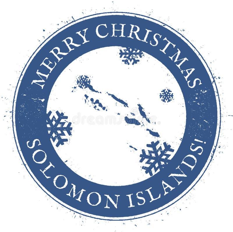 Mapa de Solomon Islands Feliz Navidad del vintage libre illustration