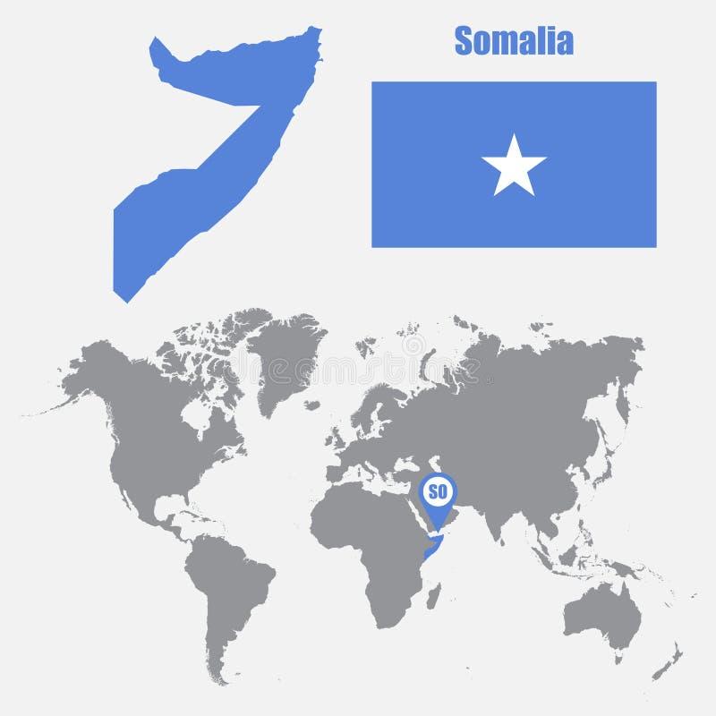 Mapa de Somalia en un mapa del mundo con el indicador de la bandera y del mapa Ilustración del vector libre illustration