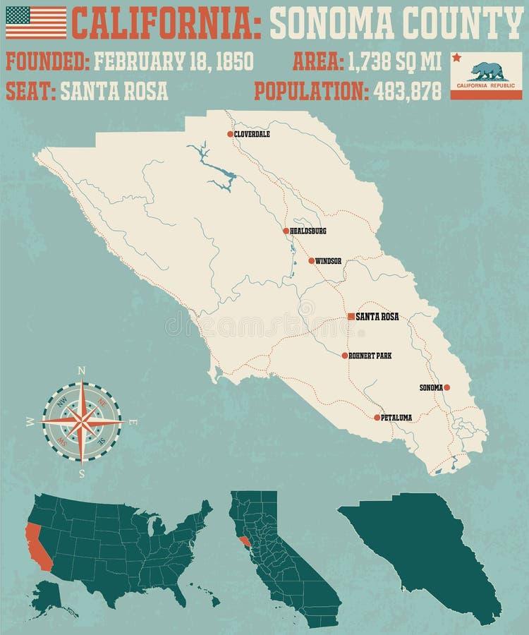Mapa de Sonoma County em Califórnia ilustração royalty free
