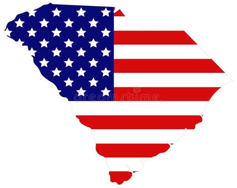 Mapa de South Carolina com bandeira dos EUA - estado na região do sudeste do Estados Unidos ilustração stock