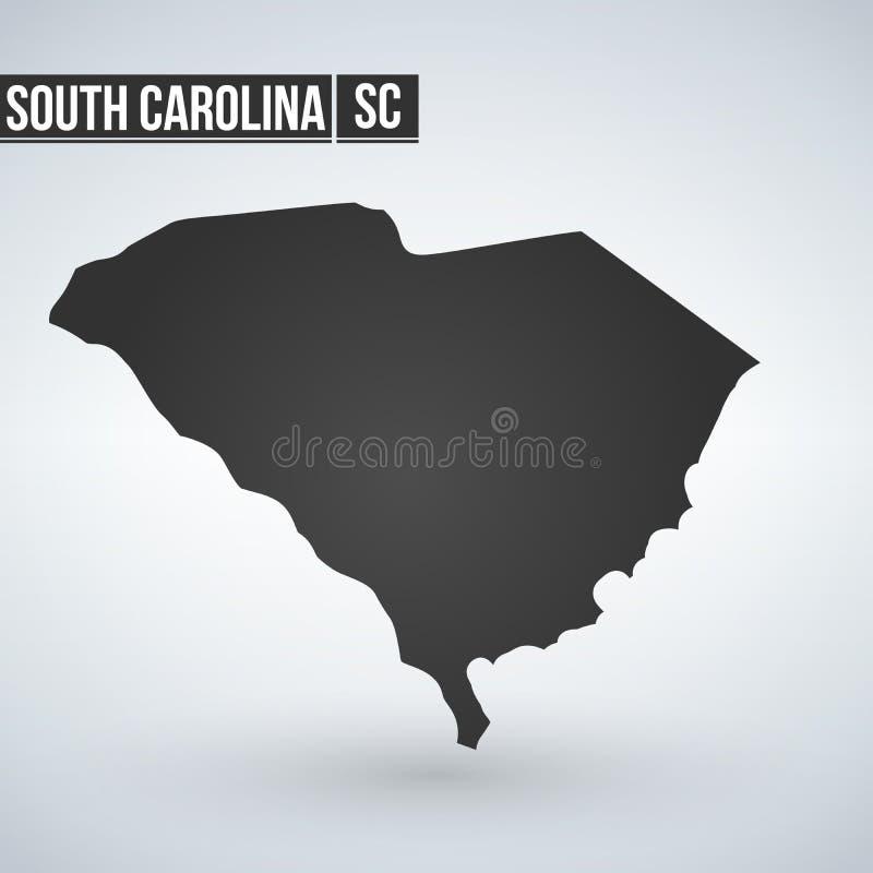 Mapa de South Carolina no cinza em um fundo branco ilustração do vetor