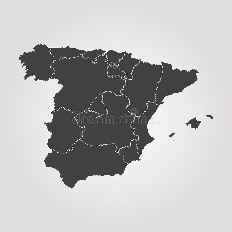 Mapa de Spain ilustração do vetor