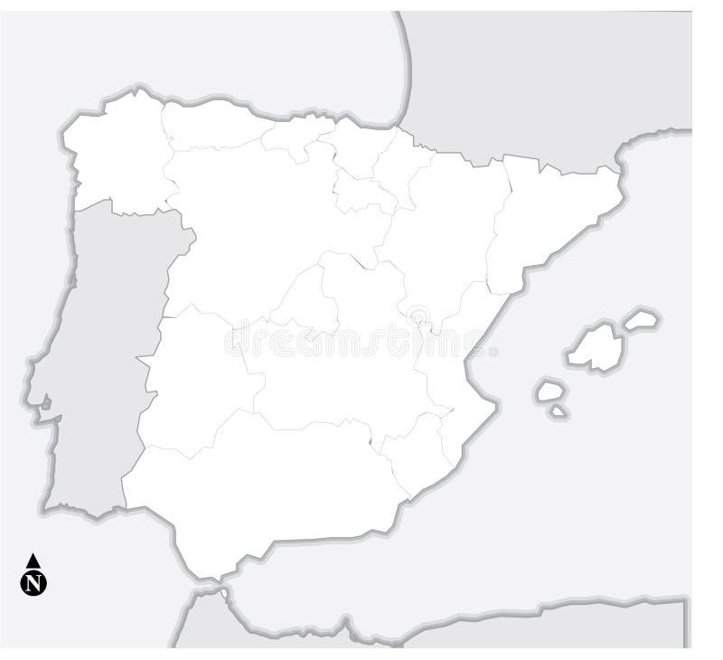Mapa de Spain ilustração stock