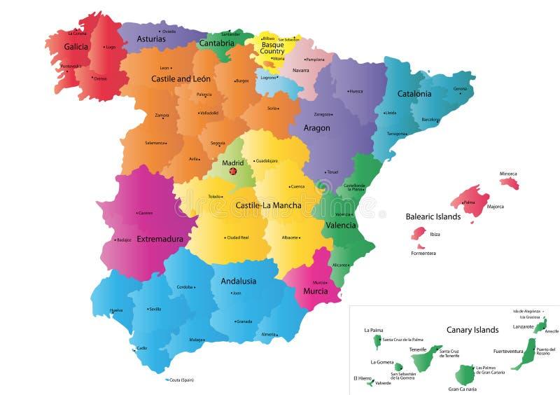 Mapa de Spain ilustração royalty free