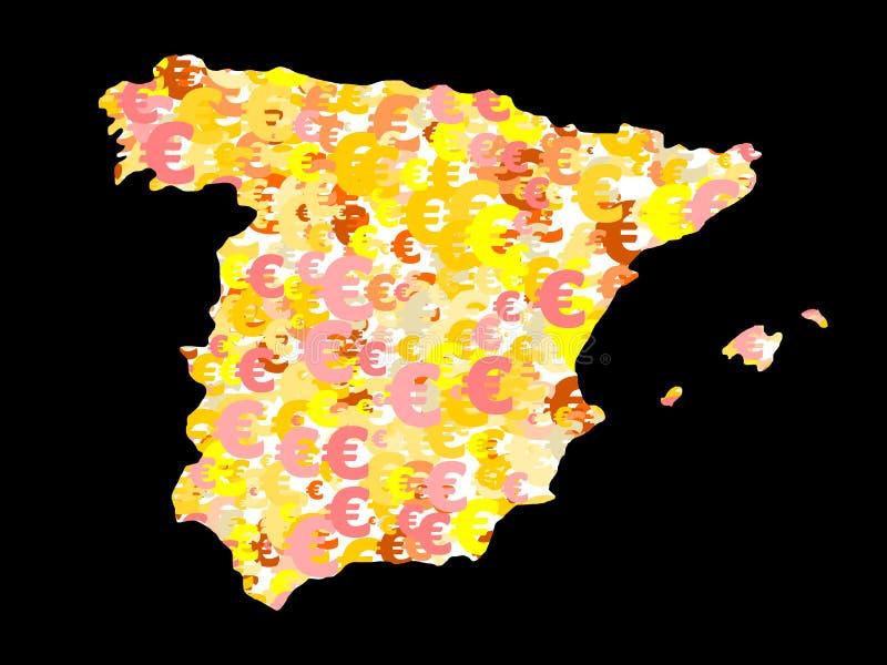Mapa de Spain com euro ilustração stock