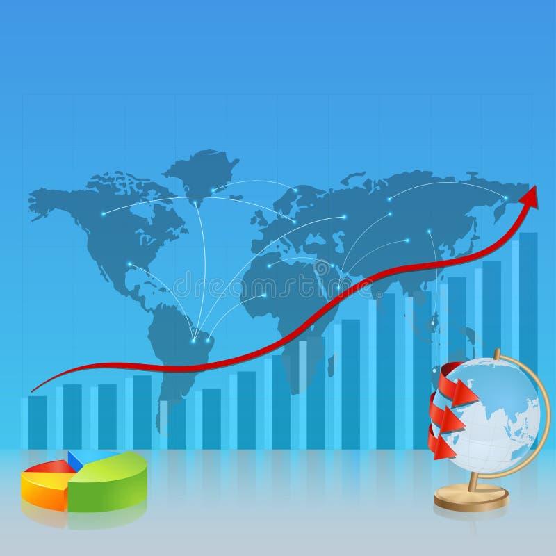 Mapa de Srategic, com o diagrama e o globo ilustração stock