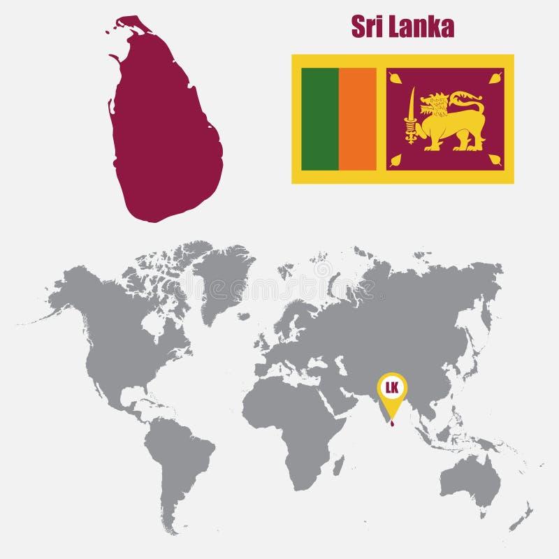 Mapa de Sri Lanka en un mapa del mundo con el indicador de la bandera y del mapa Ilustración del vector stock de ilustración