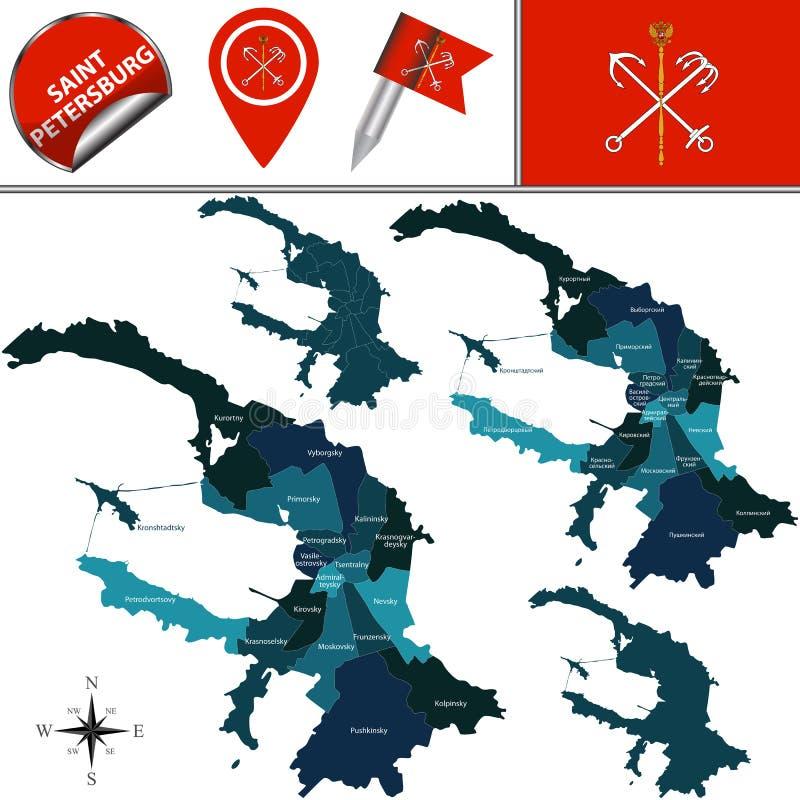 Mapa de St Petersburg con los distritos stock de ilustración