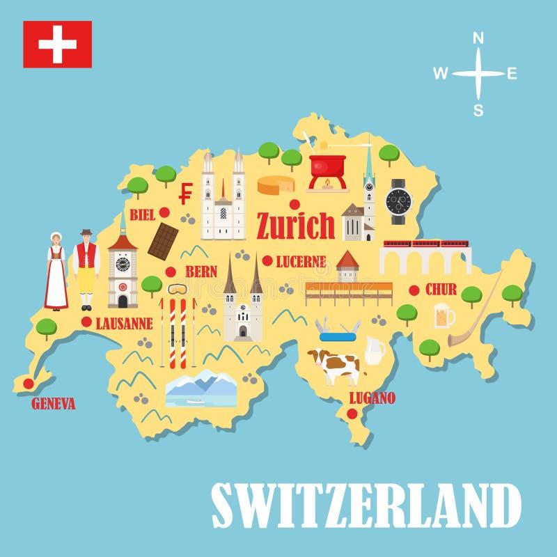 Mapa de Suíça com marcos ilustração do vetor