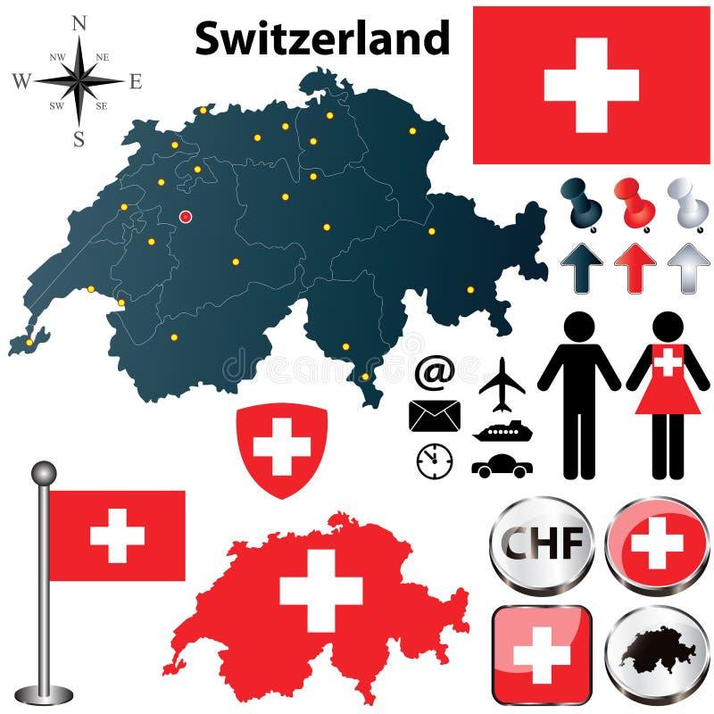 Mapa de Suíça com regiões ilustração stock