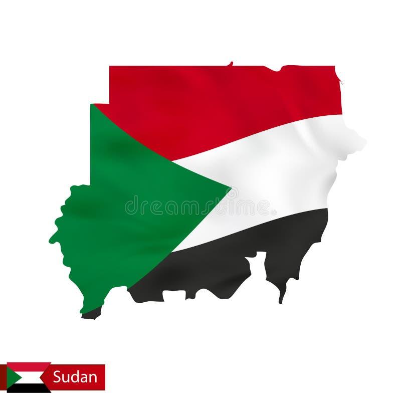 Mapa de Sudán con la bandera que agita del país stock de ilustración