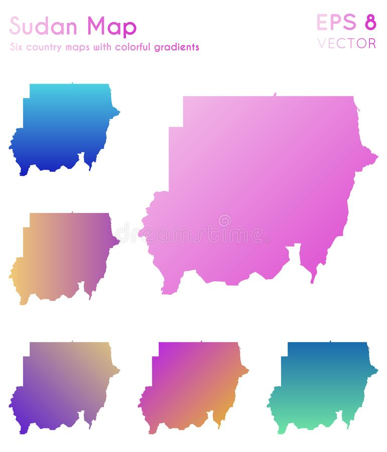 Mapa de Sudão com inclinações bonitos ilustração royalty free