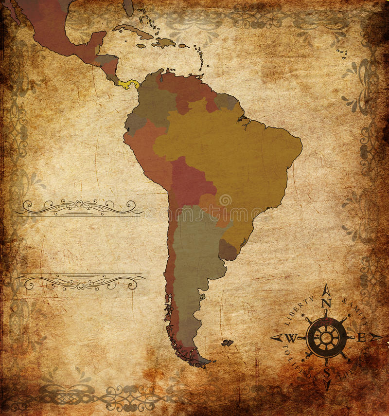 Mapa de Sudamerica ilustração royalty free