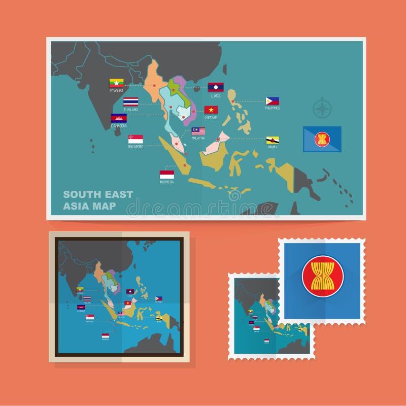 Mapa de 3Sudeste Asiático - ilustração royalty free