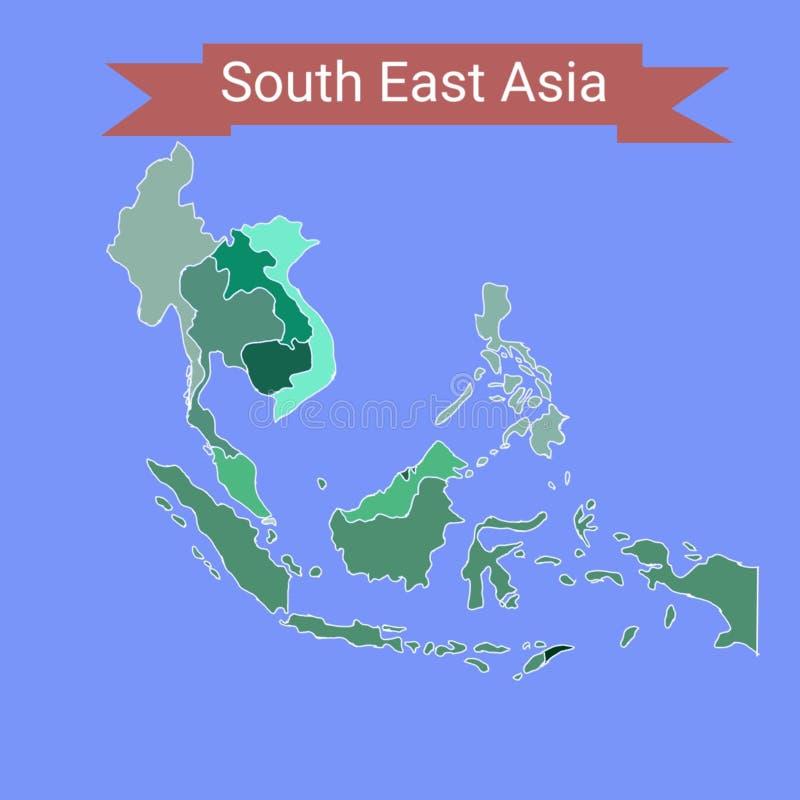 Mapa de 3Sudeste Asiático com região ilustração royalty free