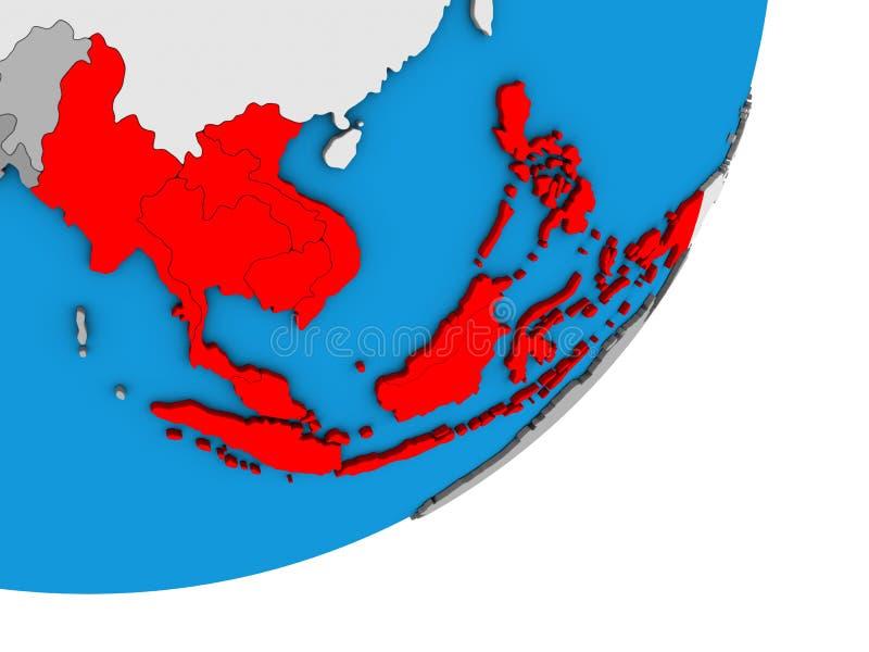 Mapa de 3Sudeste Asiático no globo 3D ilustração stock
