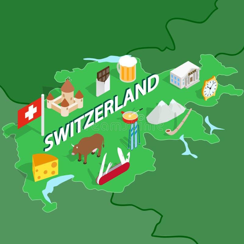 Mapa de Suiza, estilo isométrico 3d ilustración del vector