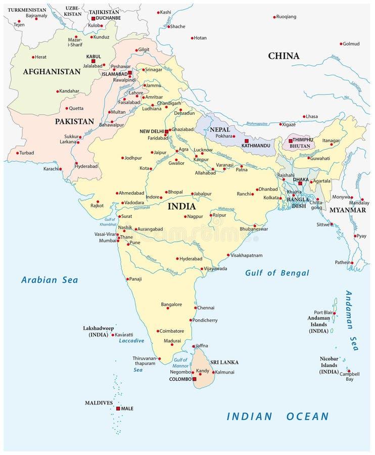 Mapa de 3Sul da Ásia ilustração royalty free