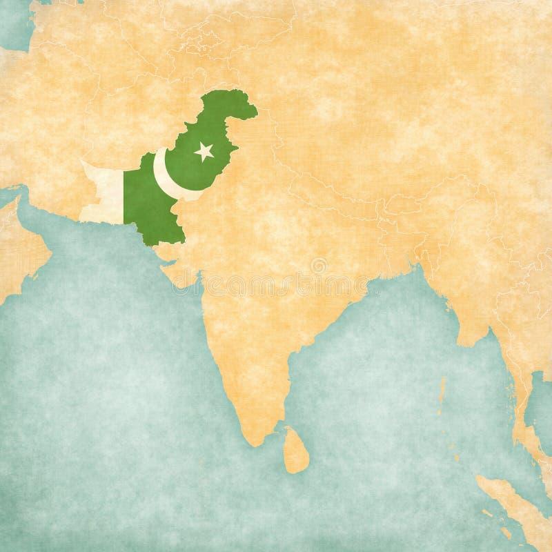 Mapa de 3Sul da Ásia - Paquistão ilustração stock