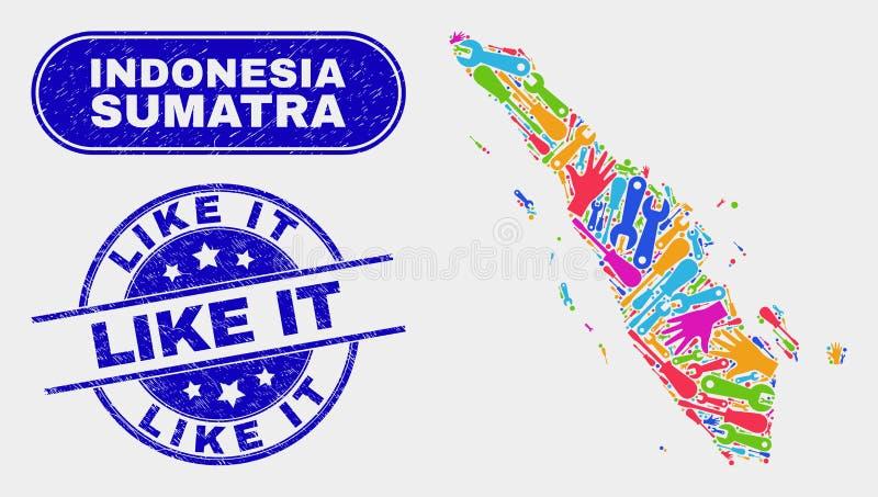 Mapa de Sumatra da produtividade e riscado como ele filigranas ilustração stock