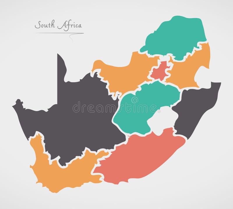 Mapa de Suráfrica con los estados y las formas redondas modernas libre illustration