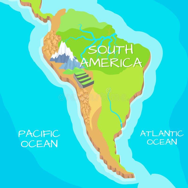 Mapa de Suramérica con las atracciones naturales libre illustration