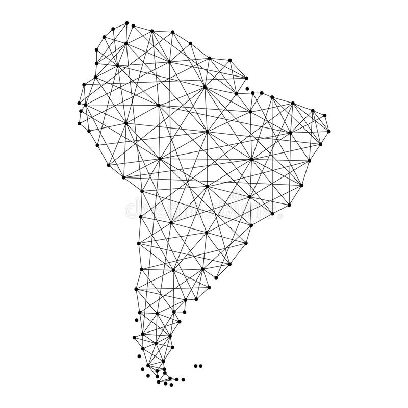 Mapa de Suramérica de las líneas negras poligonales, puntos del ejemplo stock de ilustración