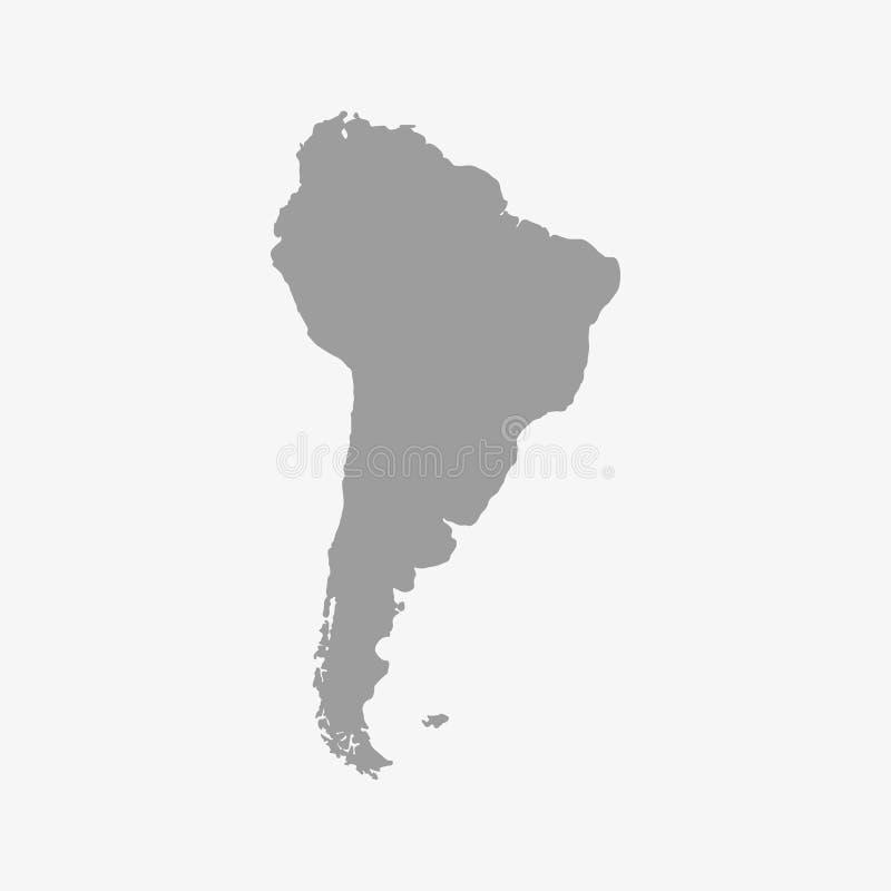 Mapa de Suramérica en un color gris en un fondo blanco ilustración del vector