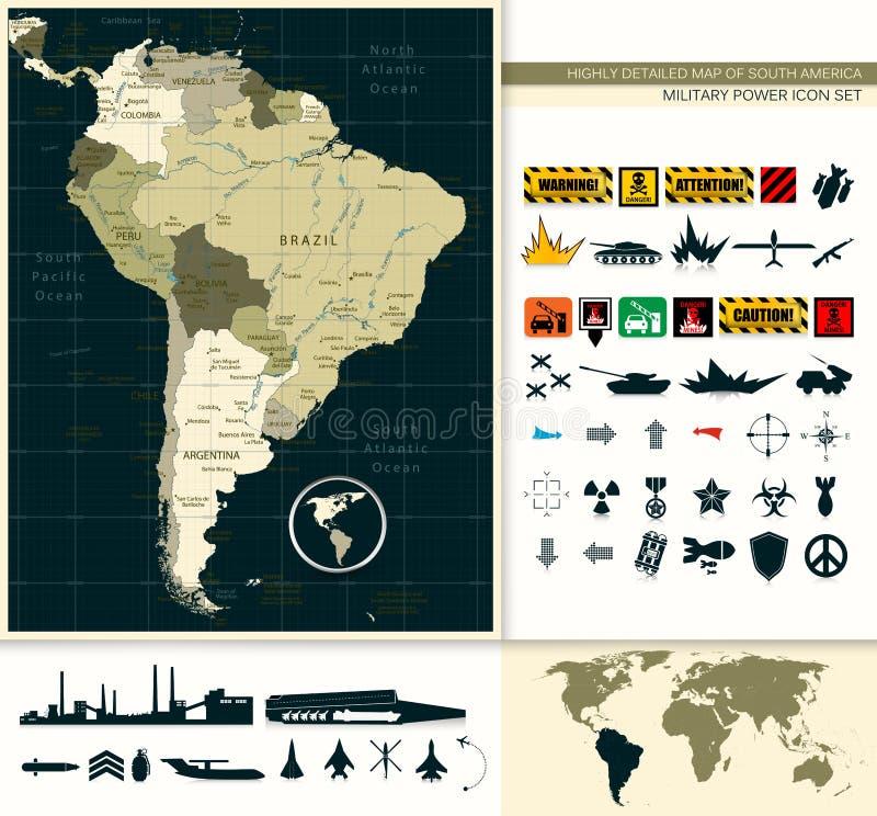 Mapa de Suramérica y del sistema del icono de la potencia militar stock de ilustración