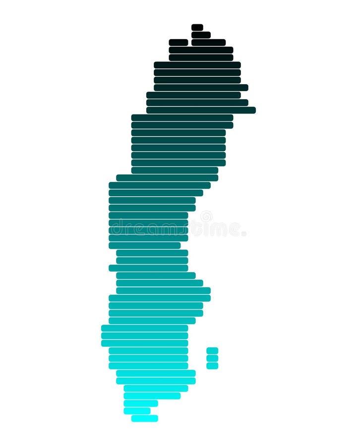 Mapa de Sweden ilustração stock