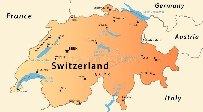 Mapa de Switzerland ilustração do vetor