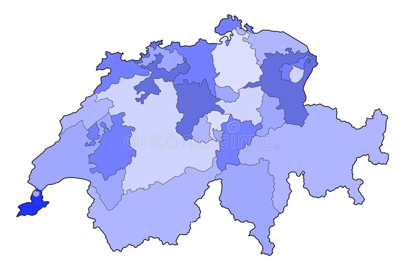 Mapa de switzerland ilustração royalty free