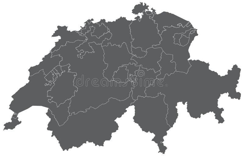 Mapa de Switzerland ilustração stock